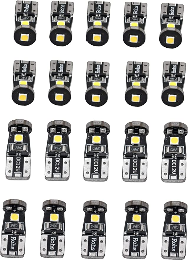 Jtech 10x T10 400 Lumen 20 SMD 2835 LED Bulb Extremely Bright White 194 168 2825