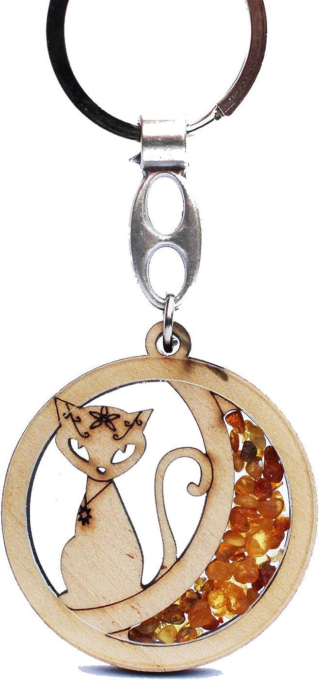Fait /à la main Ambre et bois Porte-cl/és//porte-cl/és Chat porte-bonheur Magnifique Charm pour vos cl/és ou sac /à main.