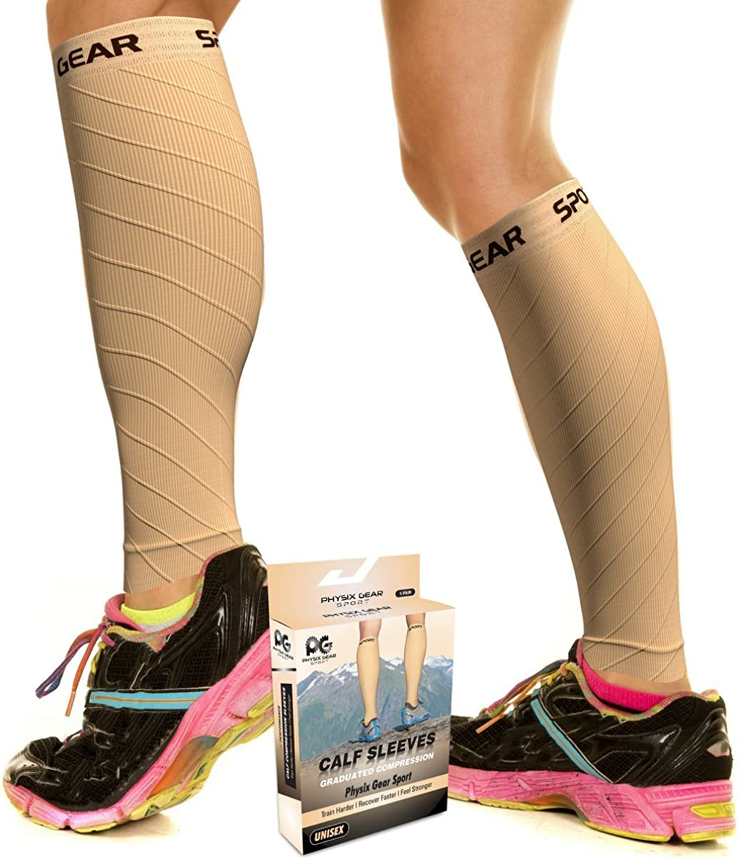 Physix Gear Sport Medias compresión Hombre y Mujer, Las Mejores pantorrilleras Running para Mejorar la circulación, Perneras Ciclismo para recuperar los músculos, pantorrilleras compresión