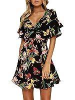 Glamaker Women's Summer Beach Boho Floral Print Romper Tie Waist with Ruffle Flare Sleeve