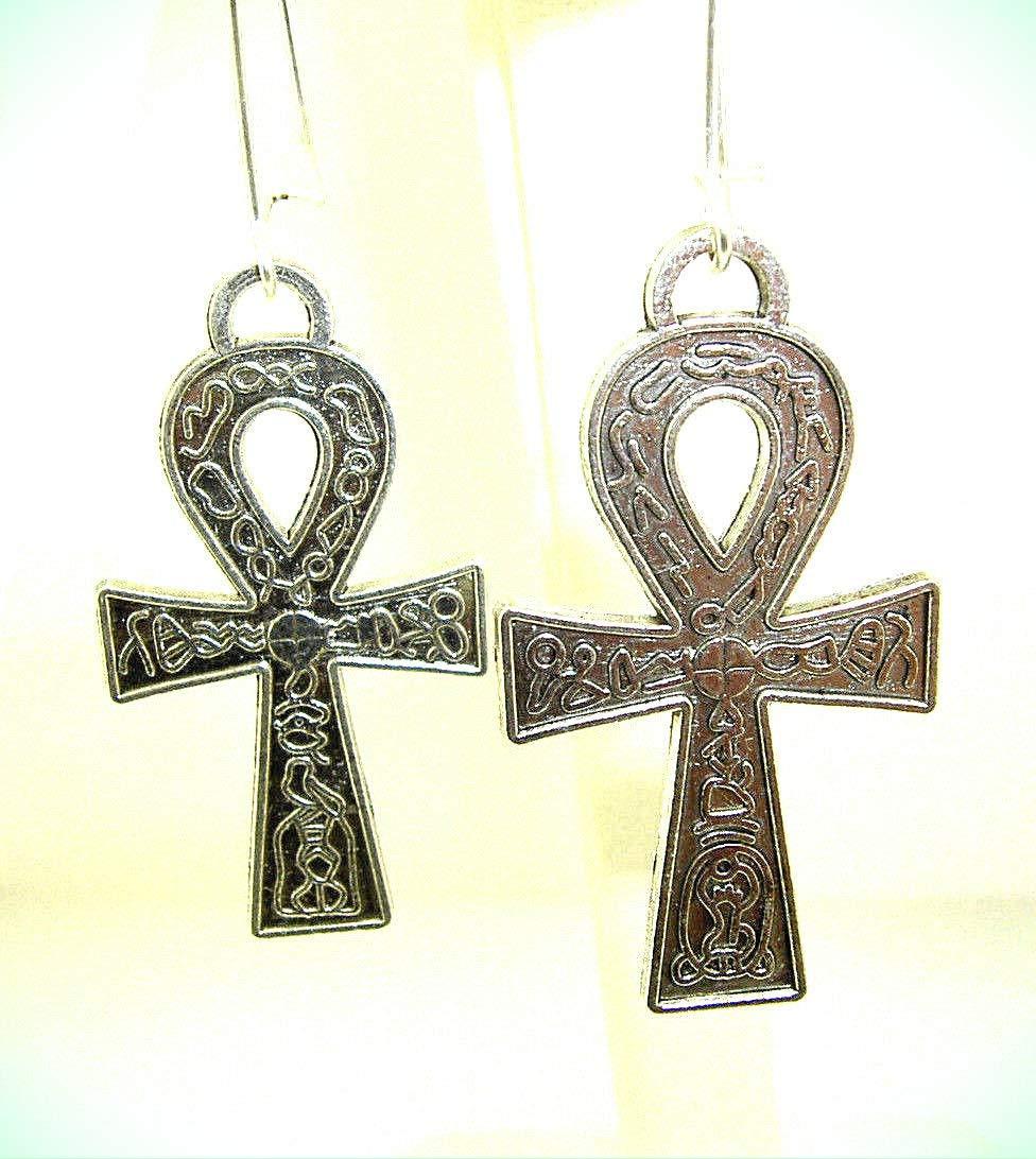 Egyptian Ankh Cross Religious Small Stud Earrings For Women For Men Shinny 925 Sterling Silver
