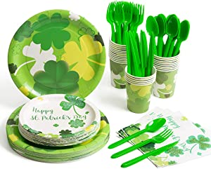 St. Patrick's Day Plates Party Supplies, Shamrocks Paper Plates, Napkins Cups and Plastic Silverware for Saint Patrick and Irish Parties, Serves 24