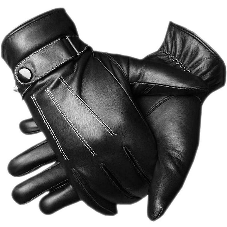 adelphos 正規品 スマホ対応 裏起毛 極暖 PUレザー 手袋 グローブ インナーフリース メンズ 男性用 革 手ぶくろ 冬 防寒 黒 ブラック