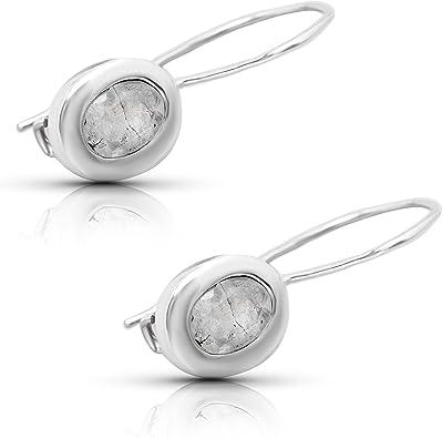 Blue Moonstone 925 Solid Bezel Setting Silver Oval Shape Natural Earring Boho Earring Best Gift Jewelry