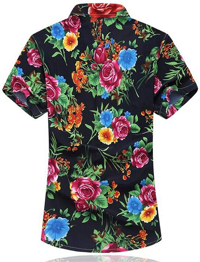 MK988 Mens Casual Floral Printed Short Sleeve Lapel Button Down Shirt Top