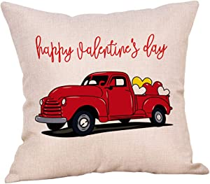 """Softxpp Happy Valentine's Day Vintage Red Truck with Heart Sign Throw Pillow Cover Rustic Farmhouse Decor Cushion Case Decorative for Sofa Couch 18"""" x 18"""" Inch Cotton Linen"""