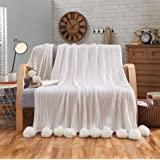 "LIFEREVO 100% Cotton Hypoallergenic Striped Cable Knitted Throw Blanket Pompoms Fringe Solid (Ivory, 39""x59"")"