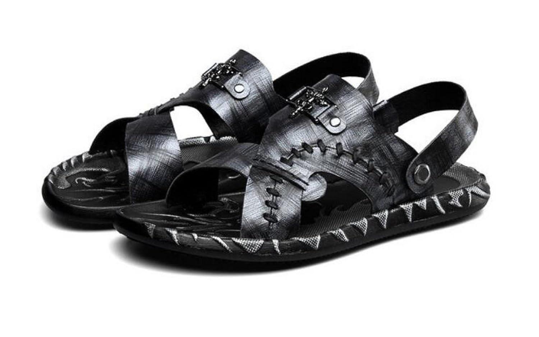 MUYII Herren Leder Strandschuhe Freizeit Ziehen Auf Sandalen Sandalen Sandalen Pantoffel Im Freien Wasser Zehenkappe Schuhe  f167cc