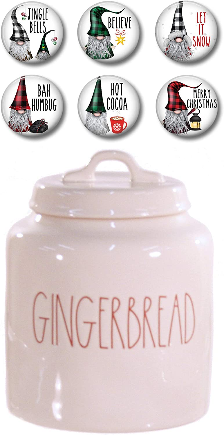 Rae Dunn Kitchen Christmas Canister - Gingerbread and Six Buffalo Plaid Gnome Fridge Magnets Gift Set