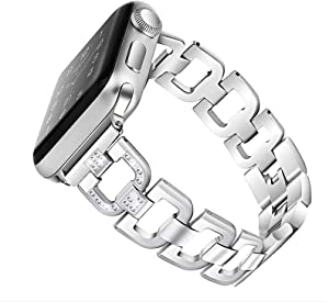 OULUCCI Bling Link Bands Compatible Apple Watch Band 38mm 40mm iWatch Series 6, SE, Series 5, Series 4, Series 3, Series 2, Series 1, Stainless Steel Metal Wristband Strap with Diamond Women Girls