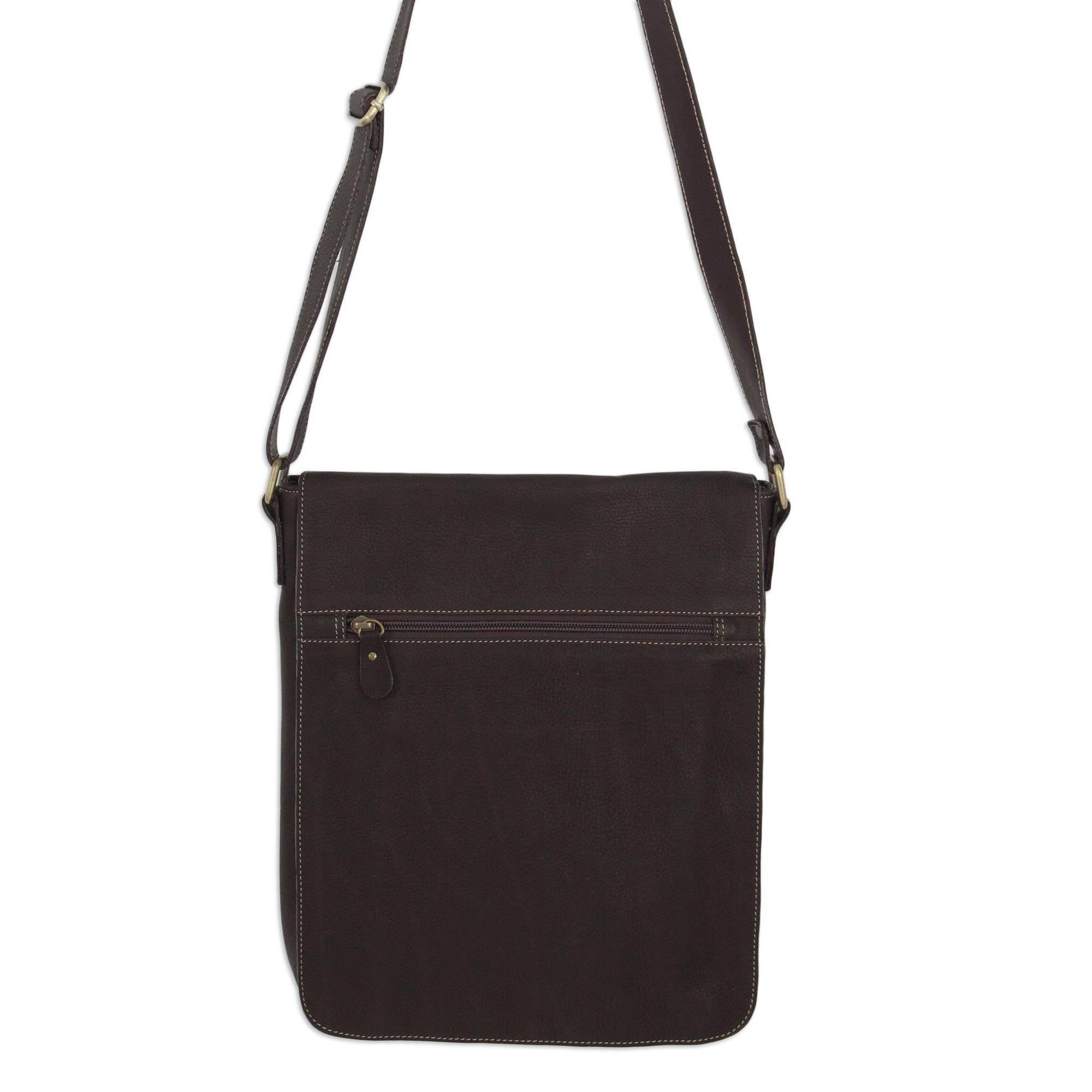 NOVICA Brown Leather Messenger Bag, 'Weekday Espresso'