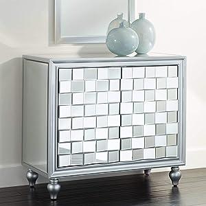 """Briana 35"""" Wide 2-Door Silver Mirrored Cabinet - Studio 55D"""