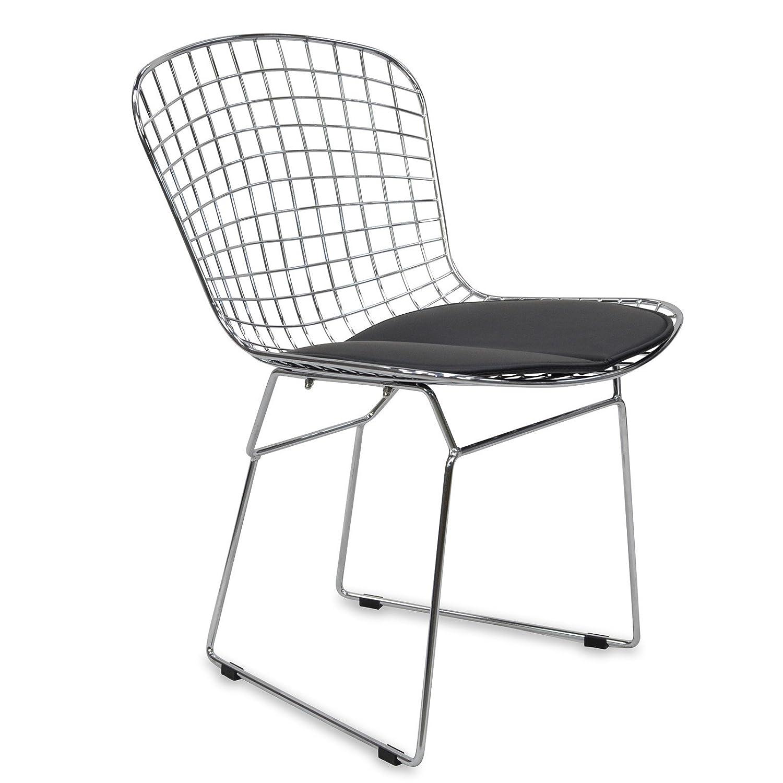 Chaise design Berta Style avec coussin - Chrome - 60 x 60 x 52 - SANTANI MOBILI