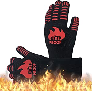 Sonemone BBQ Gloves 1472°F Heat Resistance Grill Gloves, Silicone Oven Mitts for Barbecue, Smoking, Cooking, Baking, Non-Slip