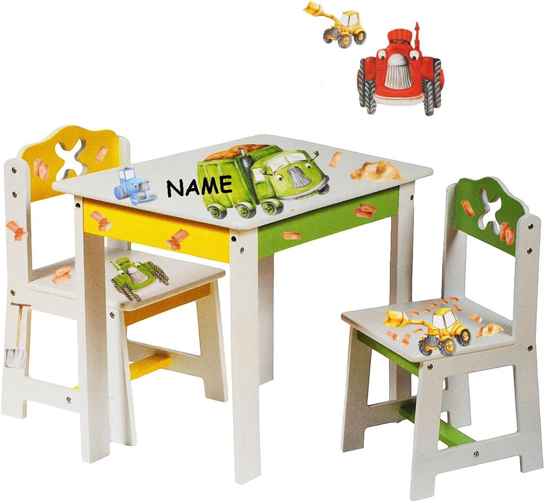 Alles meine de GmbH 3 TLG Set Sitzgruppe F uuml r Kinder Aus Sehr Stabilen Holz Wei szlig Bagger ...