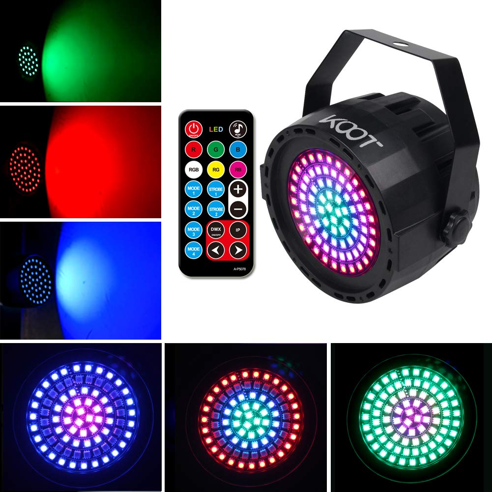 DJ Disco Lights- Stage Lights 78 Leds 2019 New Generation Party Lights,  Sound Activated Strobe Wash Lights with Remote and DMX Control Detachable