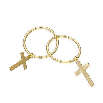 9ct Yellow Gold Cross Single Hoop Earring 9WK9P6