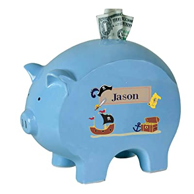 Personalized Blue Piggy Bank with Pirate Design : Baby