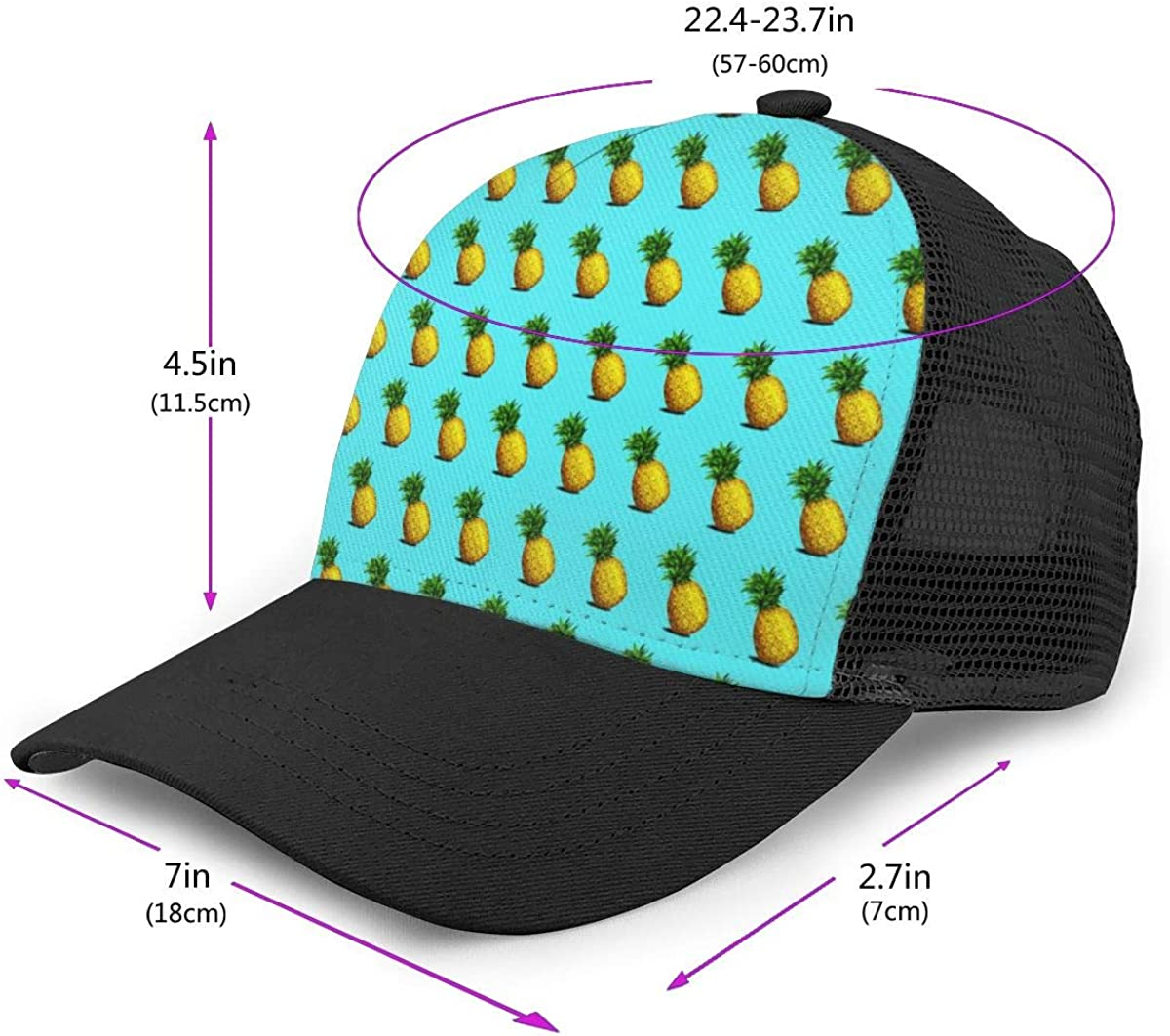 Mens Pineapple E Flat Baseball Hat Vintage Trucker Hat for Unisex