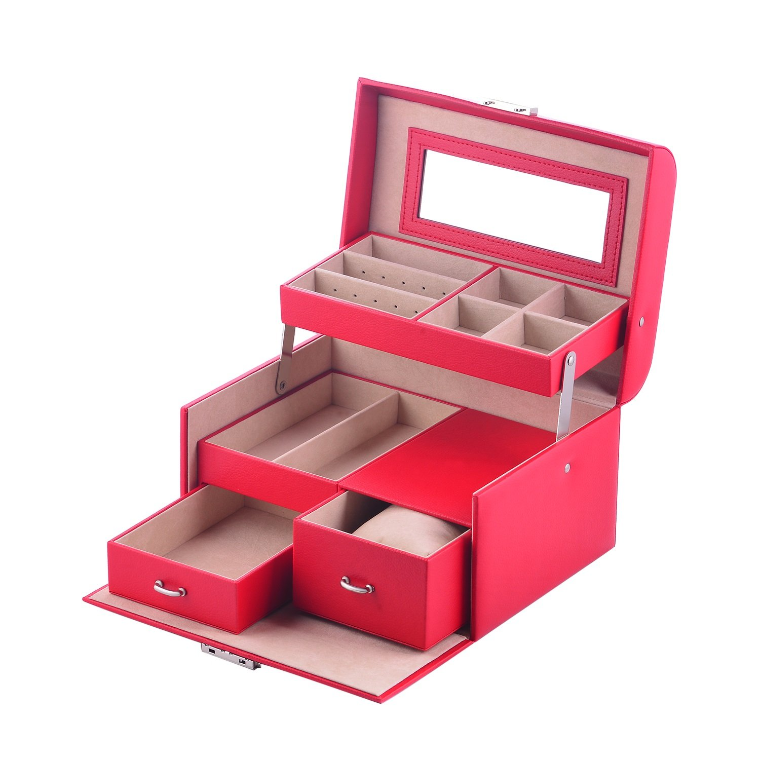 MBLife Laminated Leather Drawer Jewelry Box Organizer Lockable Storage Case with Mirror S10229Y