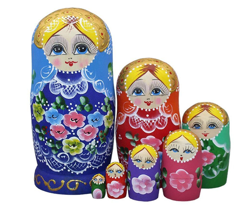Lovely Blue Blonde Little Girl with Flower Pattern Handmade Wooden Russian Nesting Dolls Matryoshka Dolls Set 7 Pieces for Kids Toy Birthday Home Decoration by Winterworm