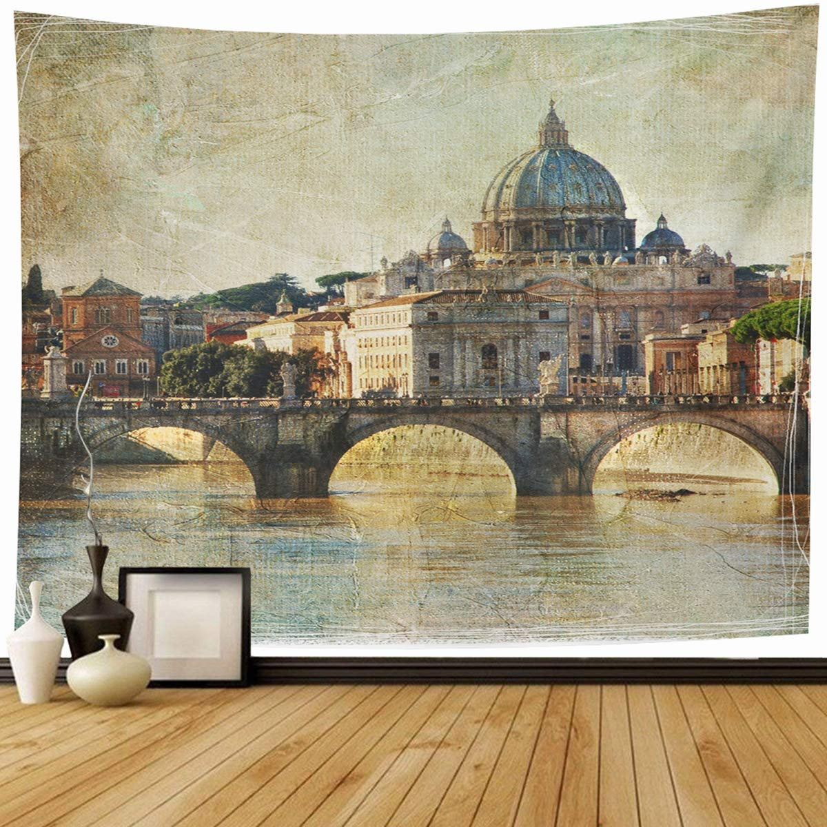 "Ahawoso Tapestry Wall Hanging 80""x60"" Jesus Italian San Pietro Basilica Rome Retro Styled Attraction Vintage Travel Holiday Italy Cityscape Home Decor Tapestries Decorative Bedroom Living Room Dorm"