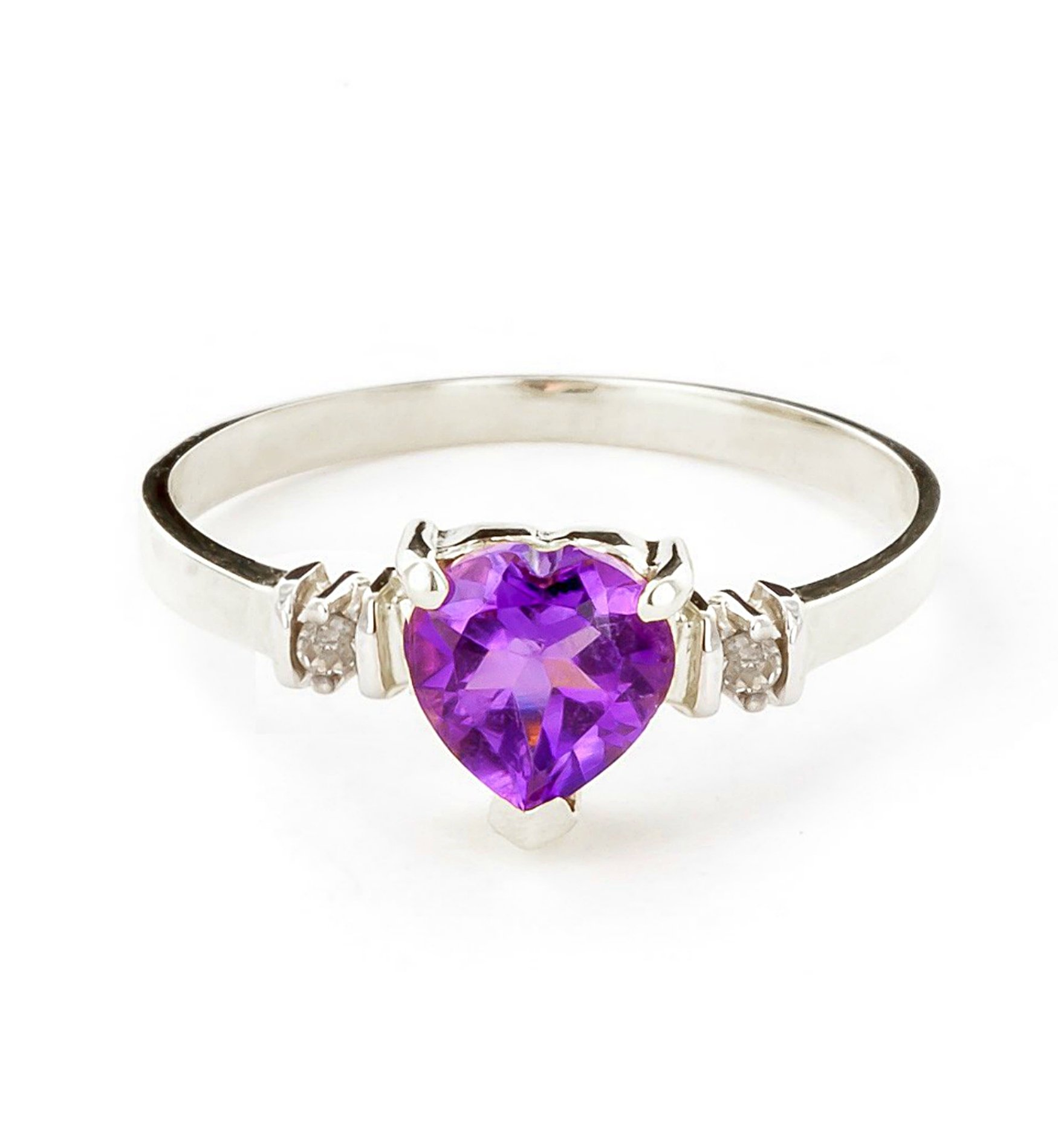 14k White Gold Ring with Genuine Diamonds and Natural Heart-shaped Purple Amethyst - Size 11