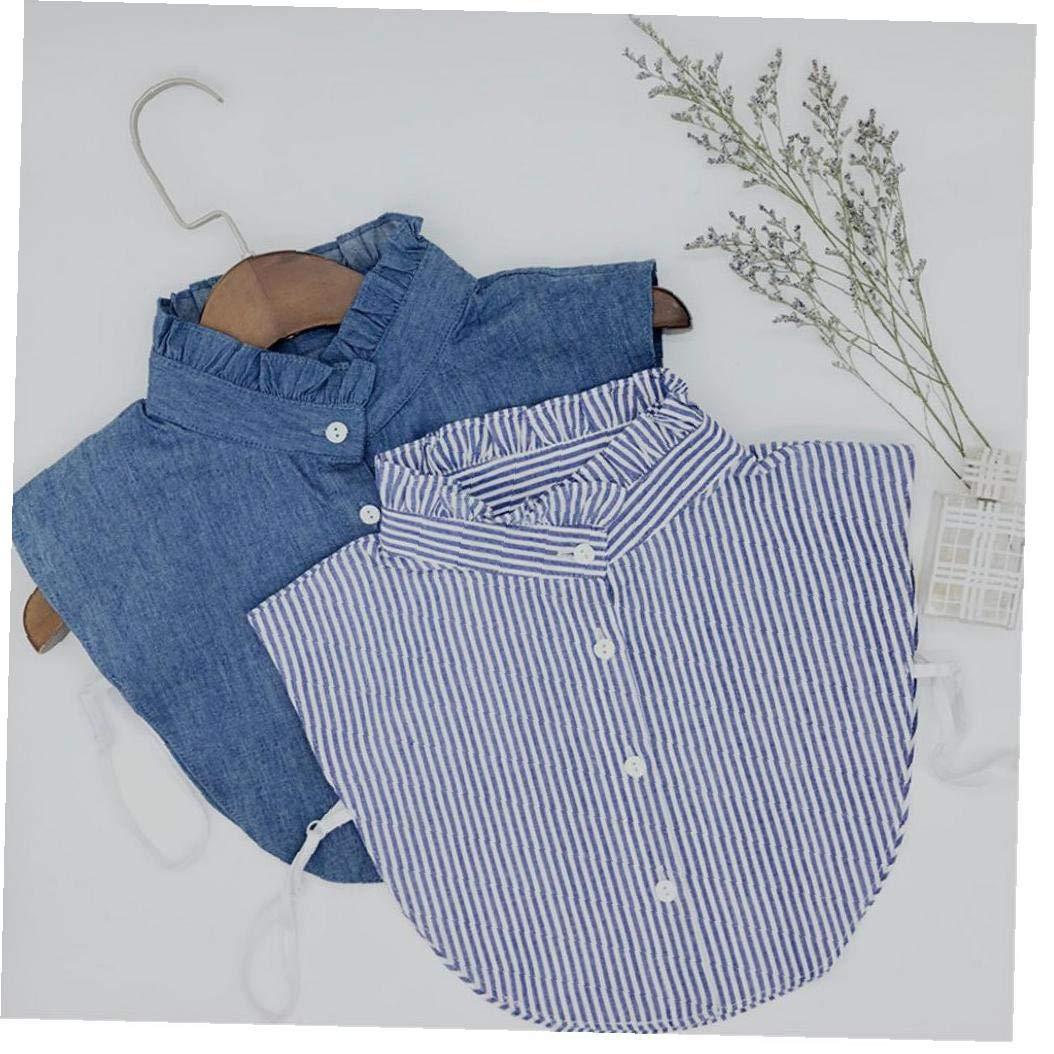 Collar Falso Desmontable Dril De Algod/ón De Cuello De La Blusa La Mitad De Collar De Las Camisas Falso por Muchachas De Las Mujeres
