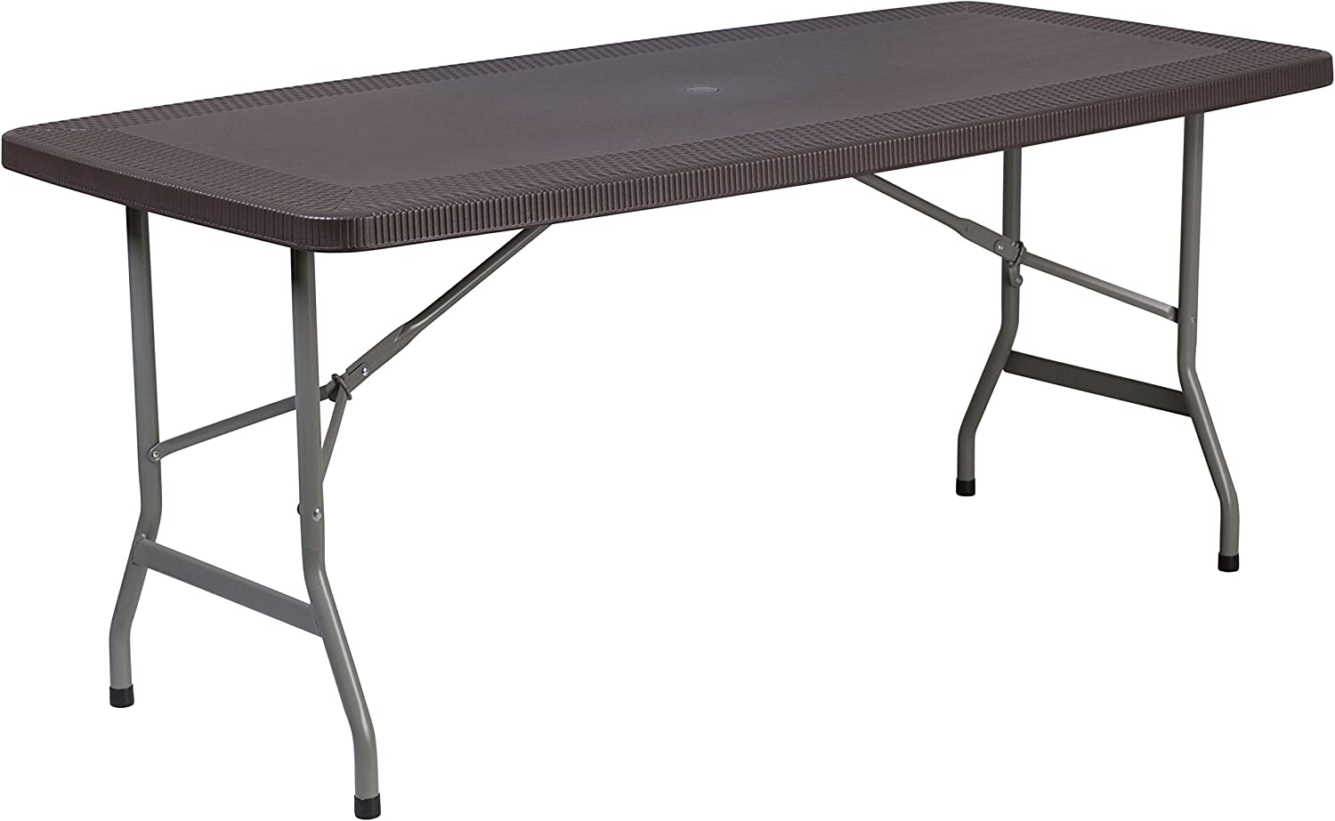 Flash Furniture 32.5''W x 67.5''L Brown Rattan Plastic Folding Table