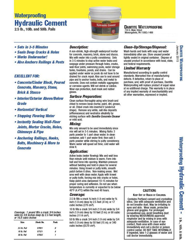 Pail 275964 10 lb Damtite 07121 Gray Waterproofing Hydraulic Cement