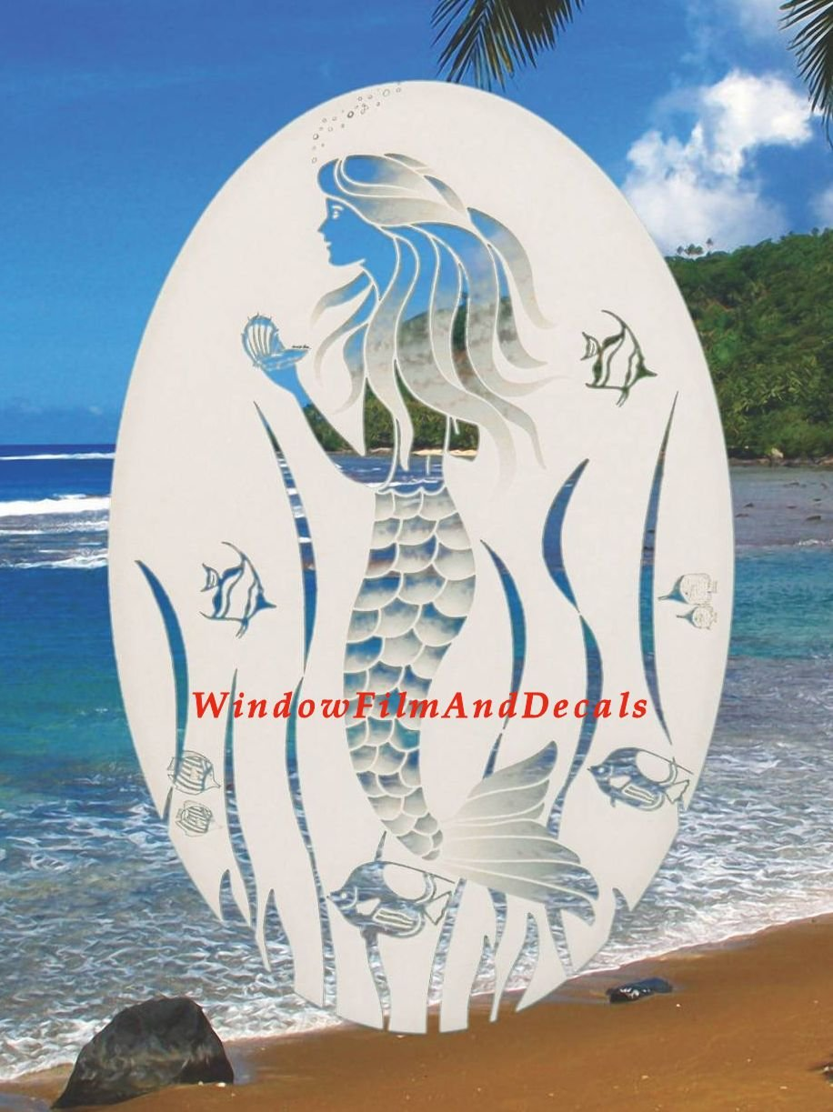 Oval Mermaid Etched Window Decal Vinyl Glass Cling - 21'' x 33'' - White with Clear Design Elements by Vinyl Etchings