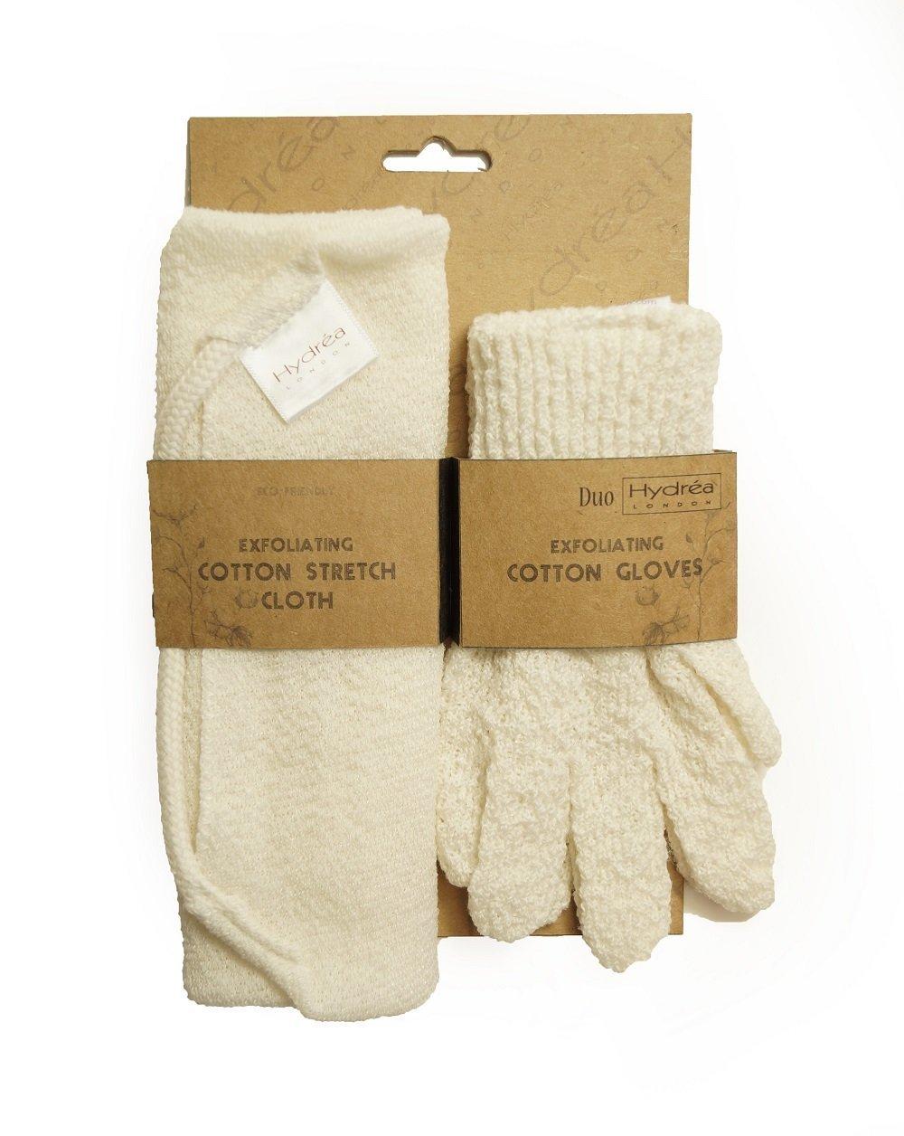 Hydrea London - Set esfoliante con panno in cotone elasticizzato e guanti