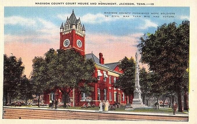 Jackson Tennessee Madison Court House Monument Antique Postcard
