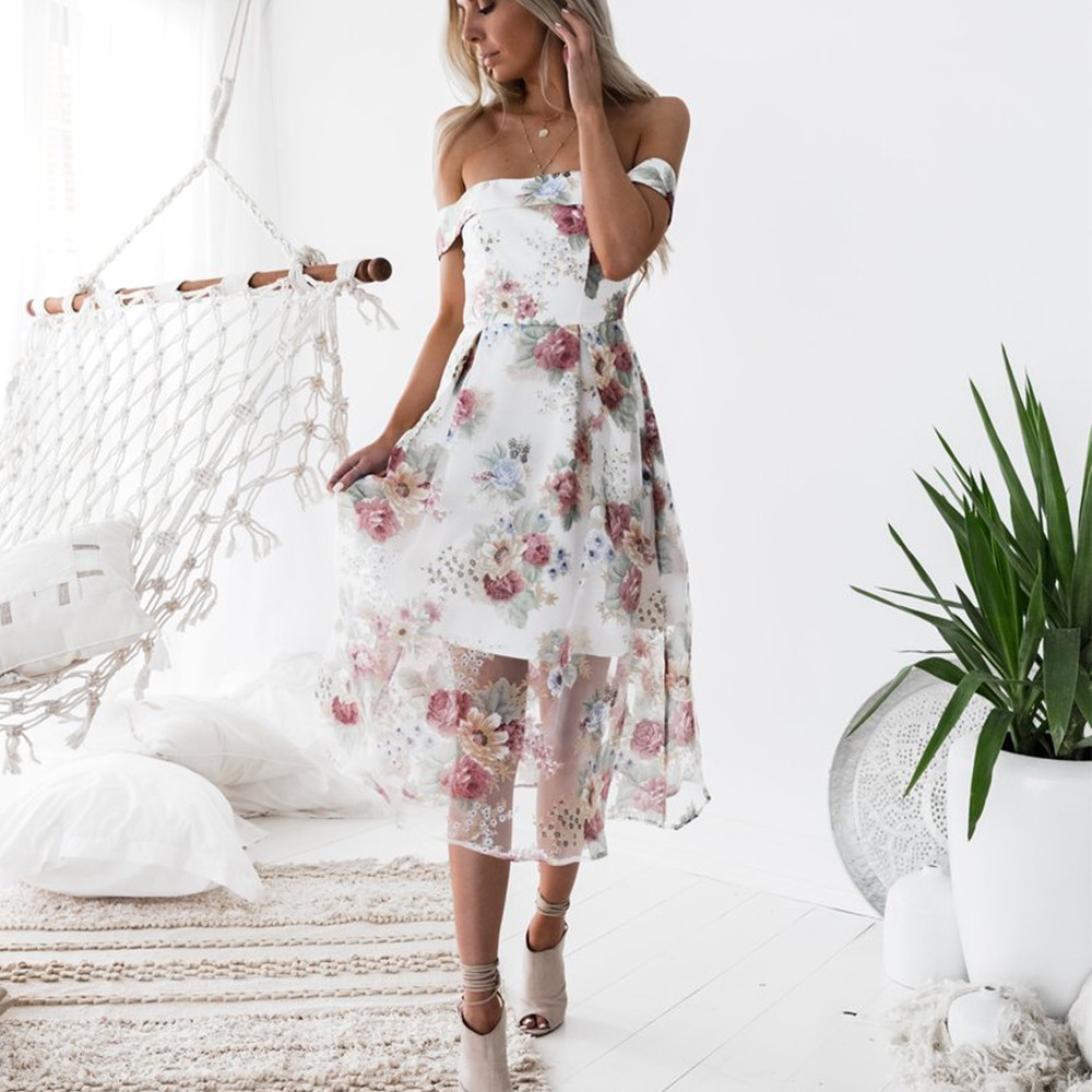 Sommerkleider Damen, Manadlian Blumen Kleider Schulterfreies ...