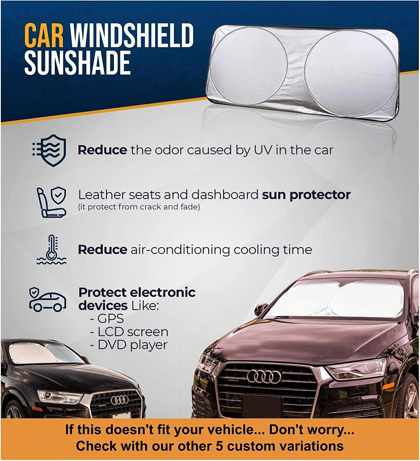 Sunshade to Keep Your Vehicle Cool and Damage Free,Easy to Use,Fits Windshields of Various Size X-Small 59 x 19 inches EcoNour Car Windshield Sun Shade Blocks UV Rays Sun Visor Protector