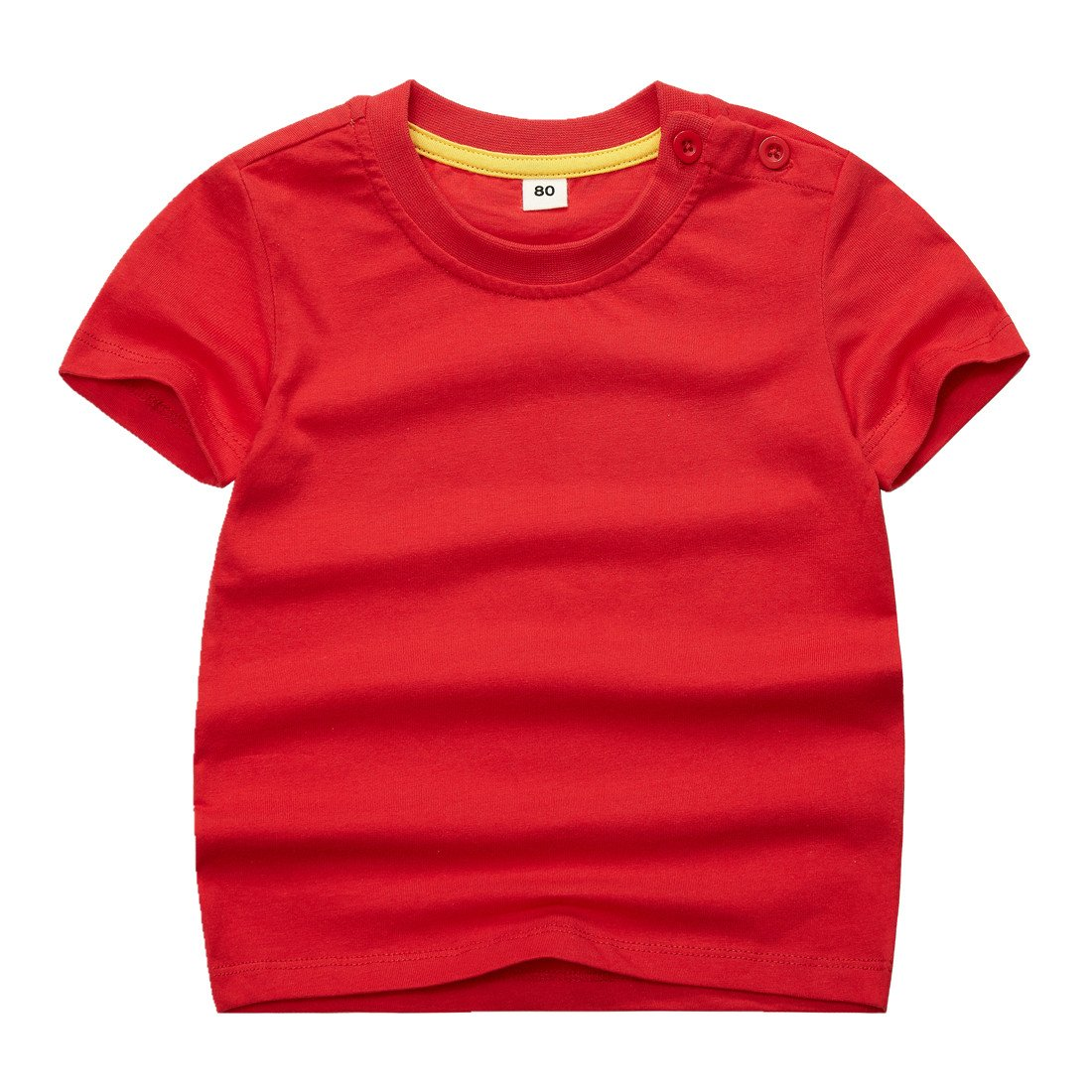 Sooxiwood Little Boys T-Shirt Solid Short Sleeve Summer Size 6 Red