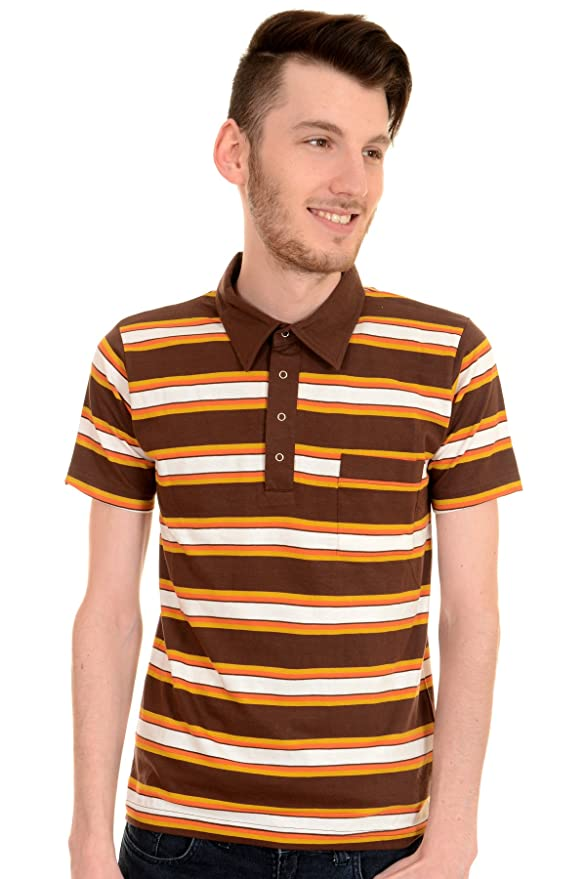 1960s – 70s Mens Shirts- Dress, Mod, Disco, Turtleneck  60s Retro Mod Brown Engineered Striped Polo Top $22.95 AT vintagedancer.com