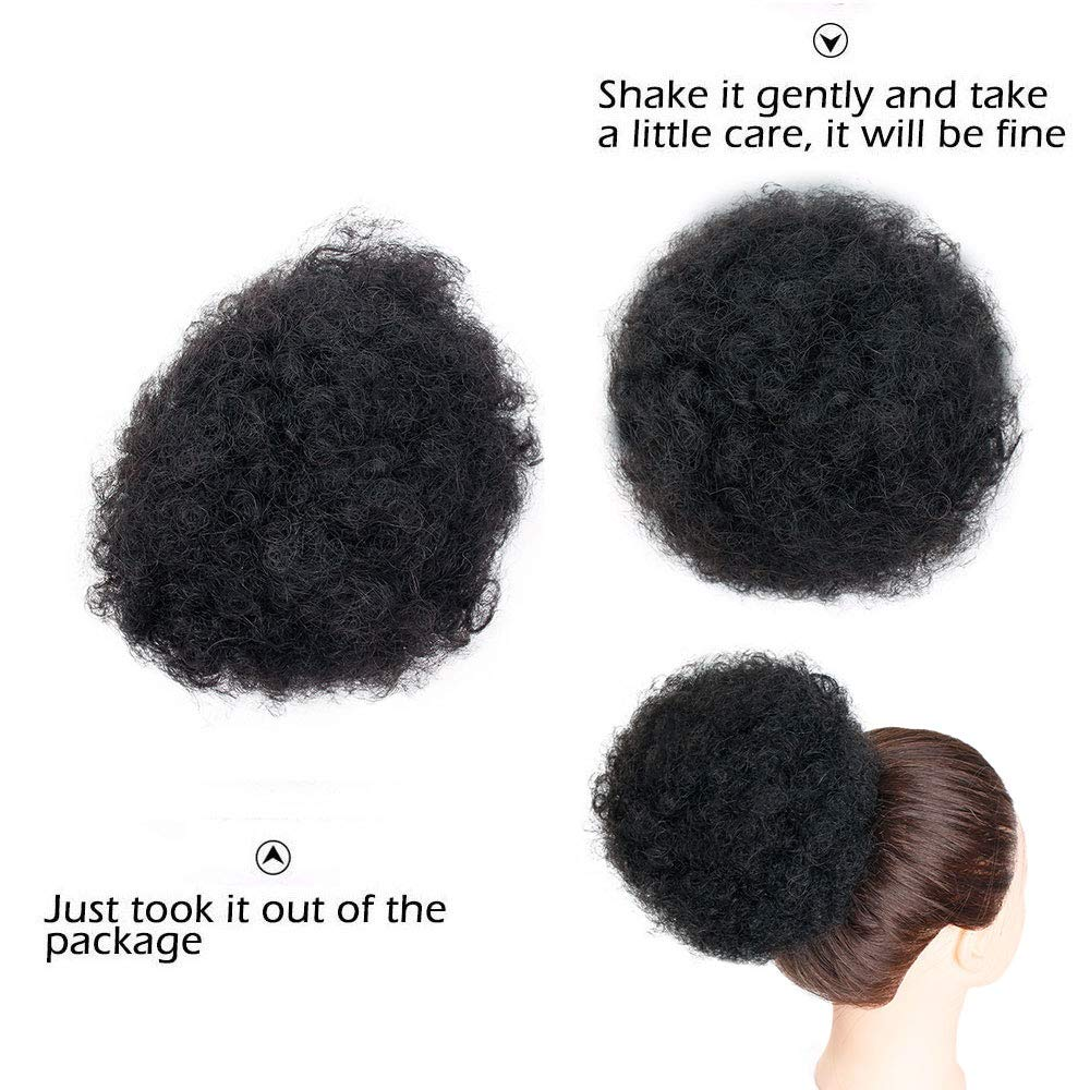 AISI QUEENS Afro Puff Drawstring Ponytail Human Hair Kinky Ponytail for Black Women Clip in African American Short Afro Curly Extensions