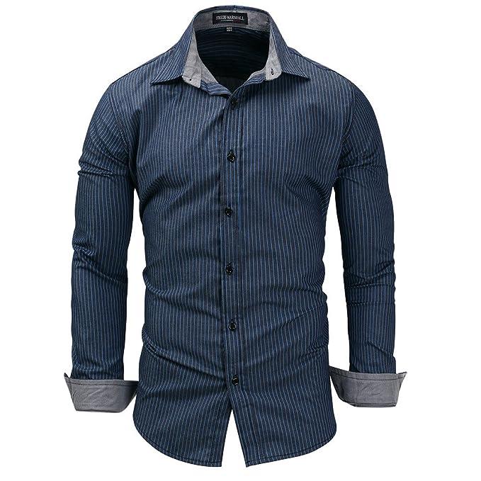 Camicia Uomo LandFox Slim Fit Maglietta a Maniche Lunghe in