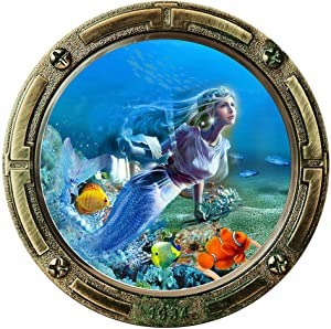 BooDecal 17 in x 17 in Mermaid Fairy Queen Princess Unsersea Series Porthole Fake Window Removable Wall Decals Swimming Sea Fish Waterproof Wall Stickers for Childrens Playroom Nursery Bathroom