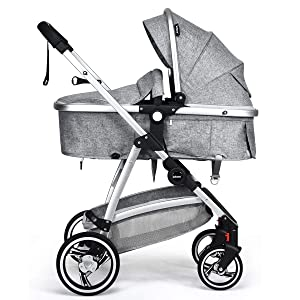 INFANS Newborn Baby Stroller Carriage, 2 in 1 High Landscape Convertible Reversible Bassinet Pram, Foldable Aluminum Alloy Pushchair with Adjustable Canopy, 3D Shock Absorption PU Wheels (Light Grey)