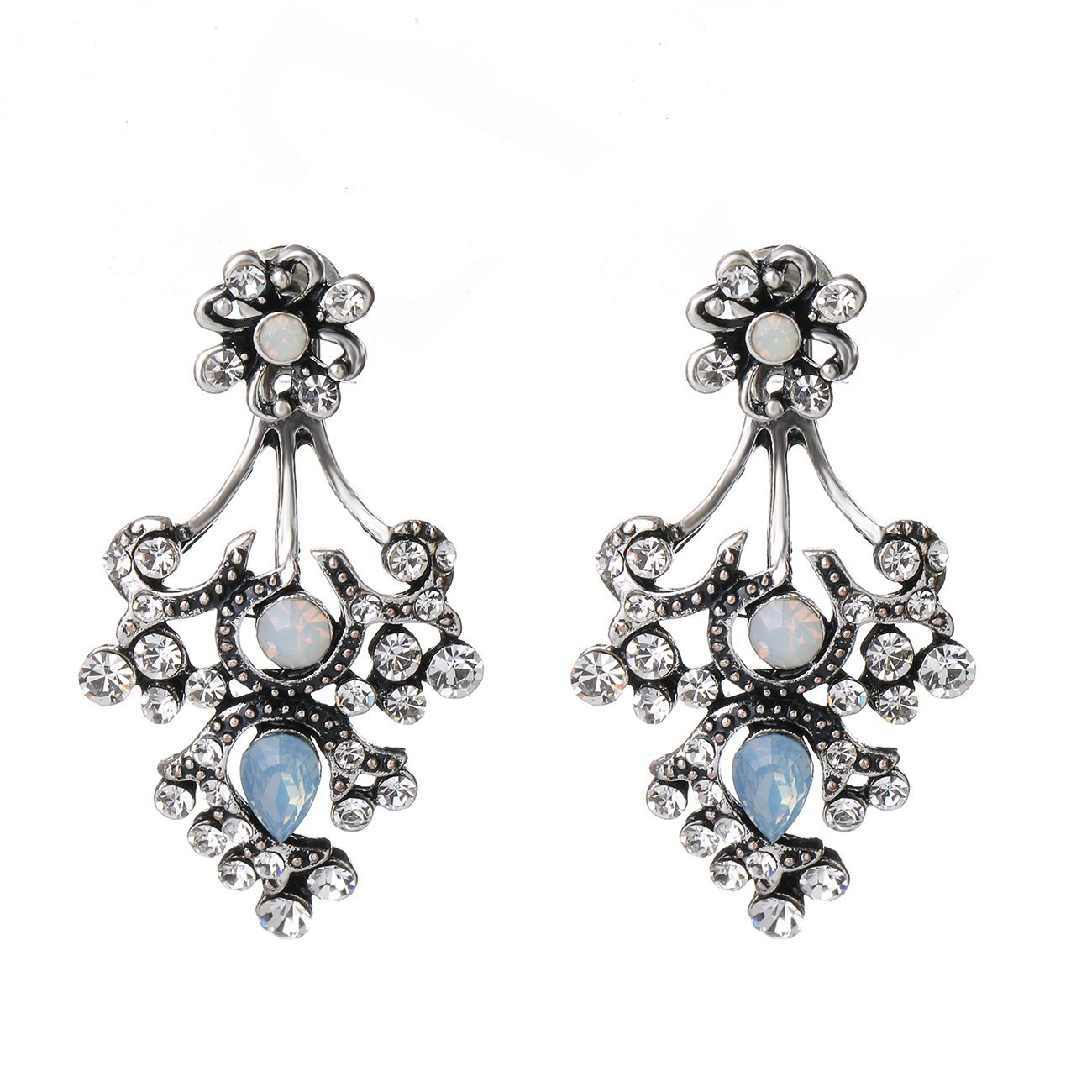 She Lian Vintage Fashion Front Back Rhinestone Stud and Ear Jacket Earrings for Women Mismatch Style (Antique Silver Tone)