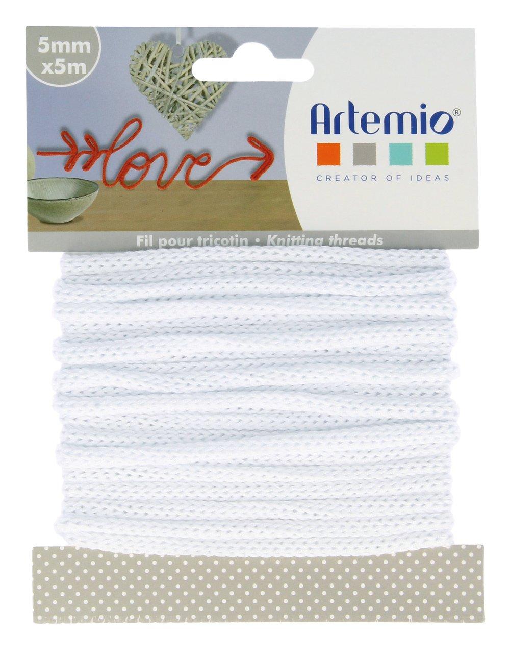 Ficelle Blanche 5mm 5 M/ètres Fil tricotin Blanc