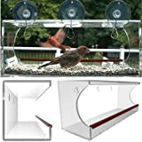 Large Window Bird Feeder, Clear Window Mount See Through Feeder. Effortless Install & Included Hooks Make it Easy To Refill Or Clean, Virtually Squirrel Resistant, Brings Wildlife To You! Now Includes Drain Holes. Best Value.