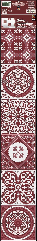 Plage 260591 Decoració n Adhesiva para Azulejos, Vinilo, Rojo, 15x15 cm, 6 Unidades