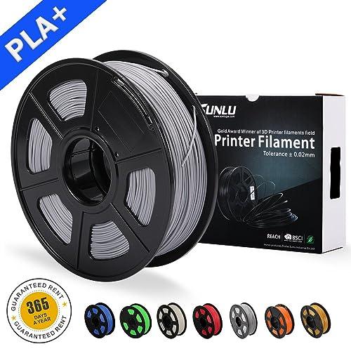 SUNLU 3D Printer Filament PLA Plus, 1.75mm PLA Filament, 3D Printing Filament Low Odor, Dimensional Accuracy +/- 0.02 mm, 2.2 LBS (1KG) Spool 3D Filament for 3D Printers & 3D Pens, Silver Grey PLA+