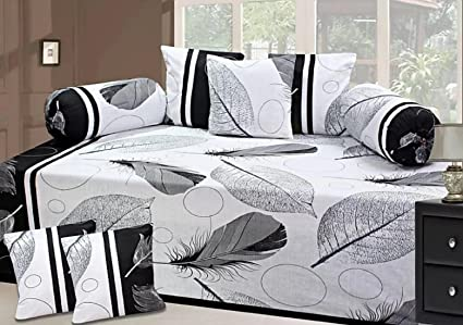 Hargunz Attractive Look 144TC Glace Cotton Diwan Set-Set of 8-White::Black