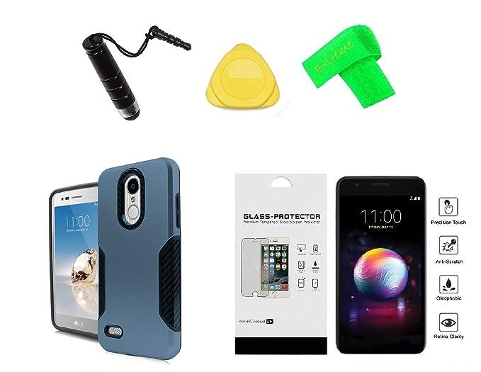 LG Rebel 4 LML212VL / LML211BL Slim Carbon Metallic Hybrid Cover Phone Case  + Tempered Glass + Extreme Band + Stylus Pen + Pry Tool (Blue)