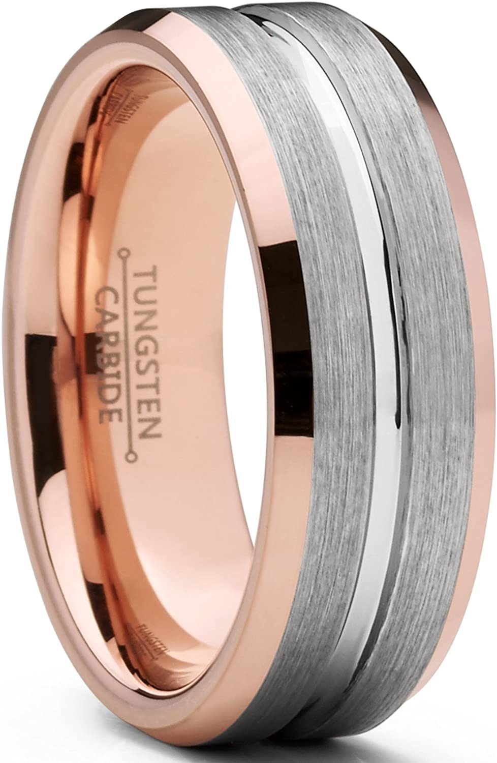 Men's Tungsten Carbide Wedding Band Ring, 8mm Flat Top Brushed Rose Tone, Pink Comfort Fit Band