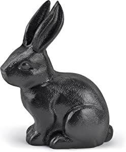 Earl Diamond Cast Iron Standing Rabbit Statue, Halloween Decorations, Garden Statues, Outdoor Statues, Garden Ornaments, Yard Statue for Home and Garden Decor (Rabbit - Black)